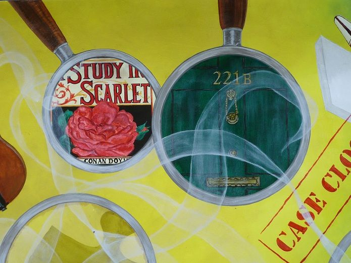 Detail of the Sherlock Holmes BookBench by Valerie Osment.