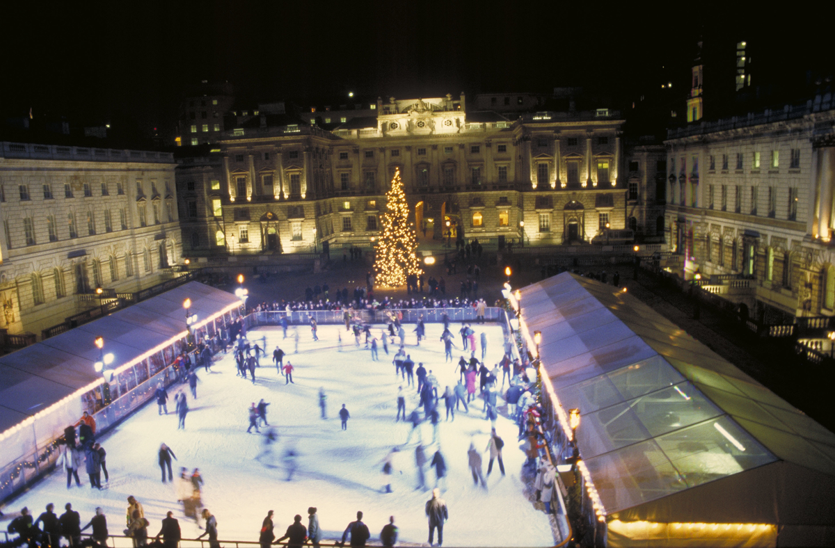 Ice skating on the ice rink in the courtyard of Somerset House