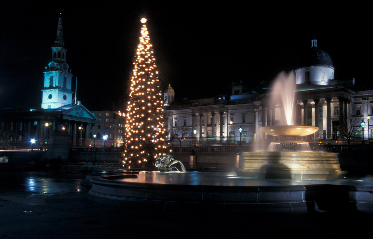 Trafalgar Square with the traditional Christmas tree