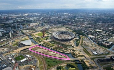 Aerial view of London Olympic Park