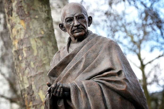 Close view of the Mahatma Gandhi statue in London