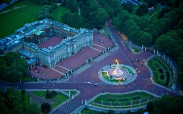 Buckingham Palace: Aerial shot at night. Photo Credit: ©London & Partners.
