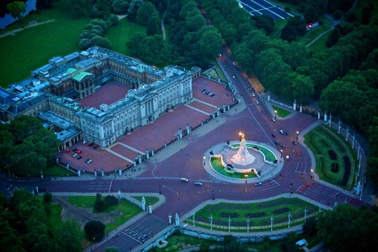 Buckingham Palace: Aerial shot at night. Photo Credit: ©London & Partners.