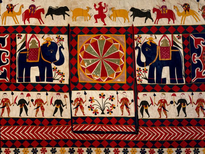 Wall hanging (detail), cotton appliqué, Gujarat, 20th century