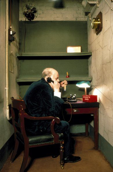 Churchill War Rooms - Churchill in Transatlantic Telephone Room.