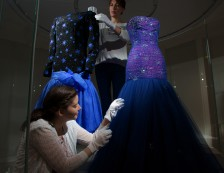 Kensington Palace - Conservators put the finishing touches to an Evening dress by Murray Arbeid, 1986 as worn by Diana, Princess of Wales.