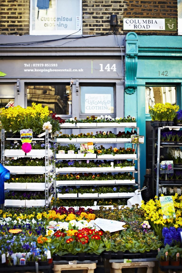 London - Flowers for sale in Columbia Road Flower Market. Photo Credit: Visit London Images.