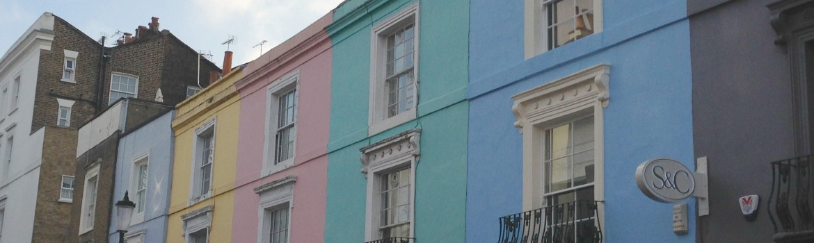 Notting Hill - A row of colourful houses. Photo Credit: ©Ursula Petula Barzey.
