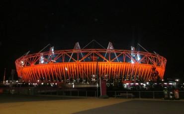 London 2012 Queen Elizabeth Olympic Park - Stadium in red. Photo Credit: ©Ursula Petula Barzey.