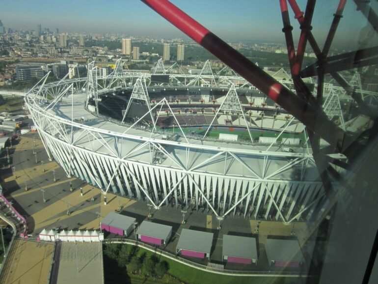 London 2012 Queen Elizabeth Olympic Park - View of the Stadium from Orbit Tower. Photo Credit: ©Ursula Petula Barzey.