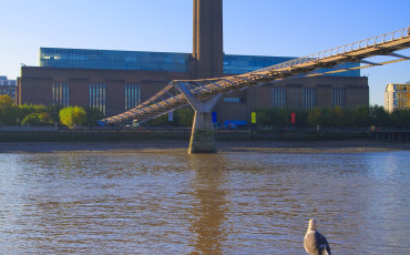 Tate Modern: View from the banks of the Thames River with Millennium Bridge in forefront.
