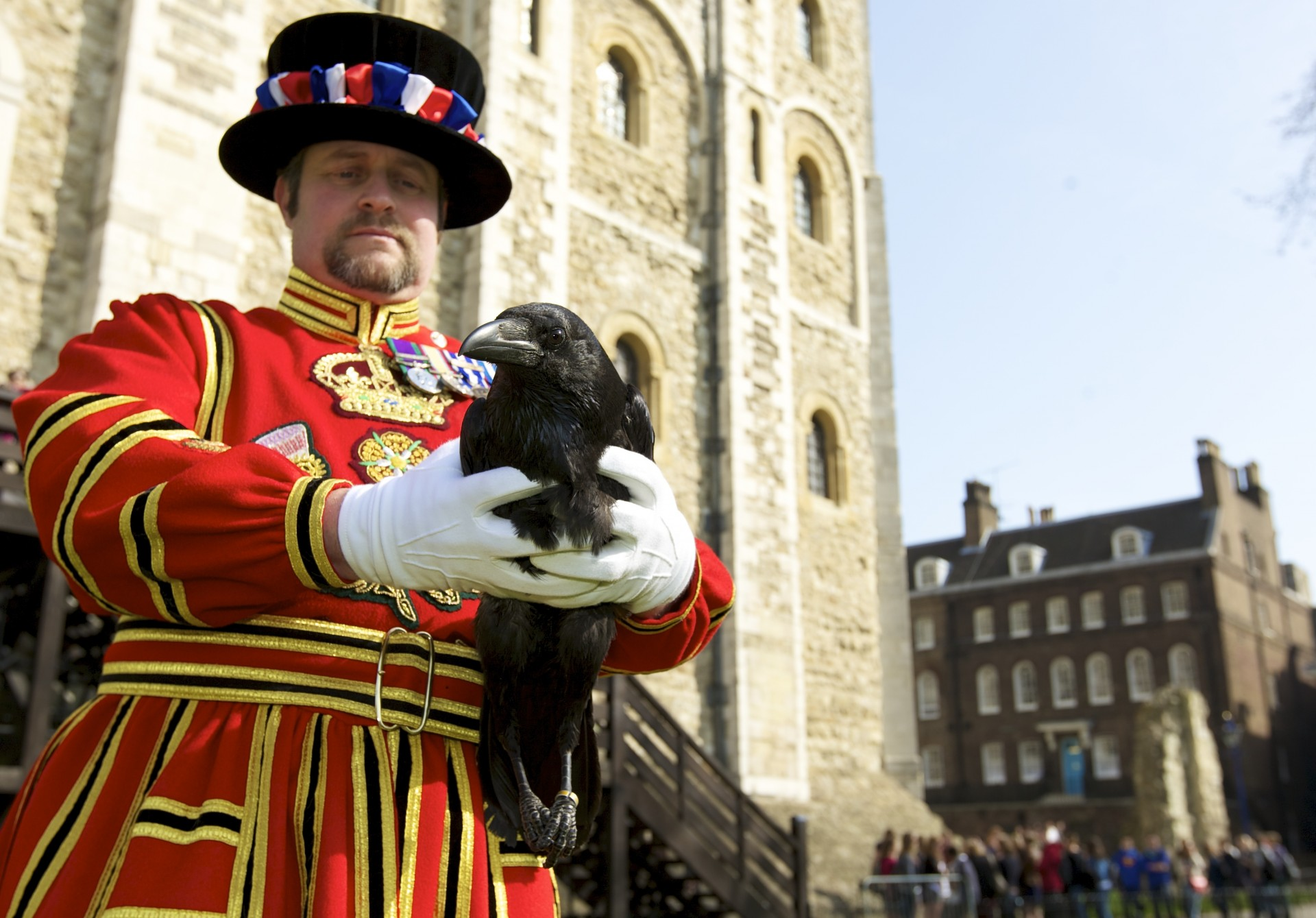 Tower of London - Raven Master Chris Skaife with Rocky the raven. It is not known when the ravens first came to the Tower of London but their presence is protected by legend.