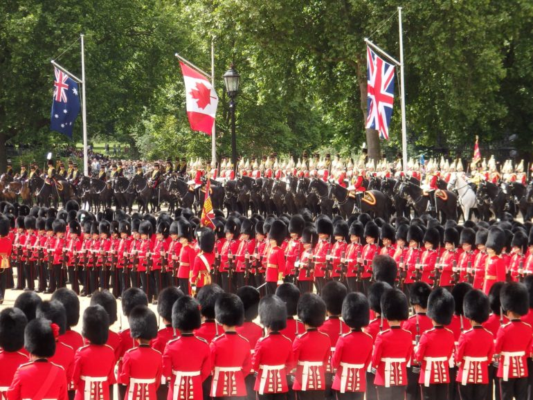 Trooping the Colour is an annual event that takes place on Horse Guards Parade near London's St James's Park, marking The Queen's official birthday.