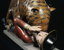 Victoria & Albert Museum - 'Tipu's Tiger', a carved and lacquered wooden semi-automaton in the shape of a tiger mauling a man, Mysore, India, about 1793.