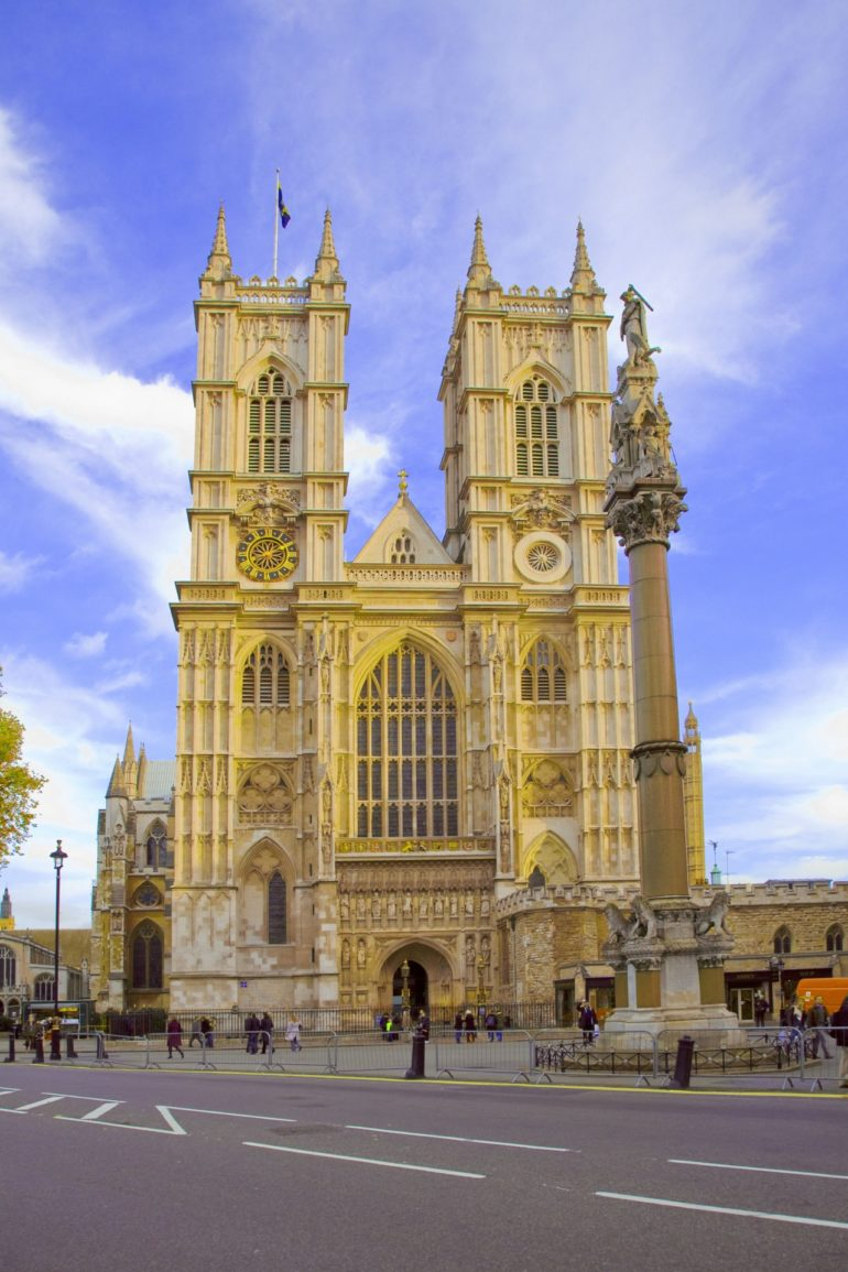 Westminster Abbey - Western Facade. Westminster Abbey is a London landmark and home to Royal coronations, marriages and funerals since the eleventh century.