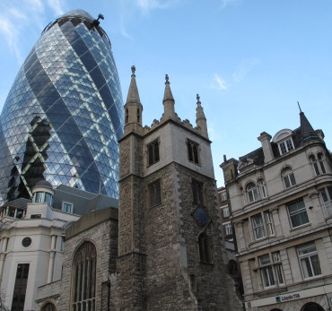 City of London - 30 St Mary Axe known as the The Gherkin. Photo Credit: ©Nigel Rundstrom.
