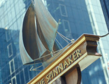 Close-up of the sign outside The Spinnaker pub sign on Harbour Exchange Square, Canary Wharf. Photo Credit: ©Visit London Images.