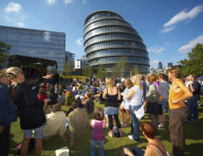 London Architecture - Crowds enjoying the sun on the Southbank at the Thames Festival in front of City Hall. Photo Credit: ©Visit London Images.