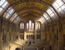 London Architecture - The imposing, Romanesque interior of The Central Hall at London's Natural History Museum, the glass and iron ceiling structure was purposely left exposed by architect Alfred Waterhouse to display the beauty of the building materials. Photo Credit: ©Visit London Images.