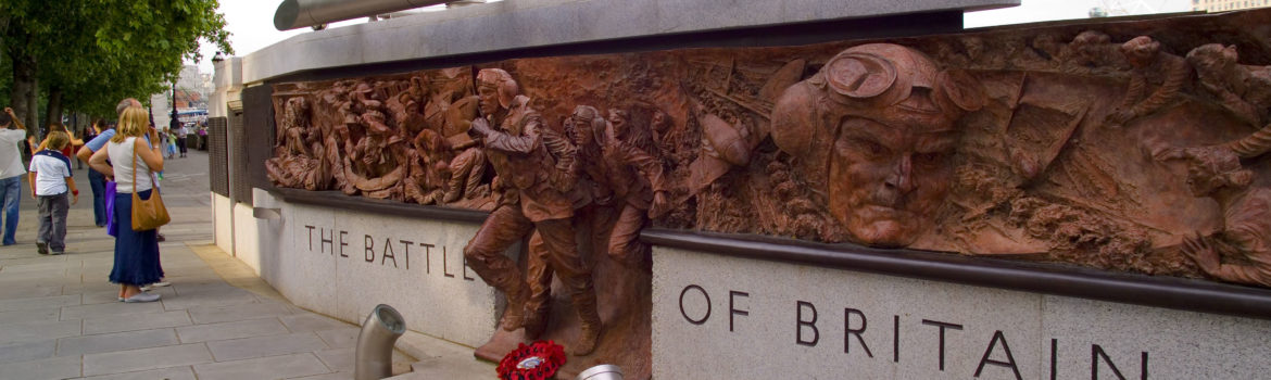 The Battle of Britain Monument on Victoria Embankment in London, designed by Paul Day the bronze plaques dramatically depict RAF crewmen scrambling into action. Photo Credit: ©Visit London Images.