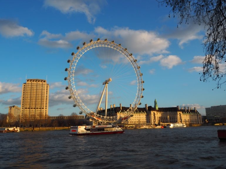 South Bank - View of the London Eye and historic County Hall building. Photo Credit: ©Ursula Petula Barzey.