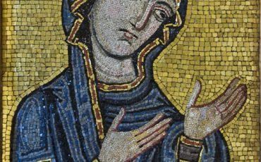 Byzantine-style mosaic showing the Virgin as Advocate for the Human Race. Kept at Museo Diocesano di Palermo, originally from Palermo Cathedral, c.1130-1180AD. Photo Credit: ©Museo Diocesano di Palermo.