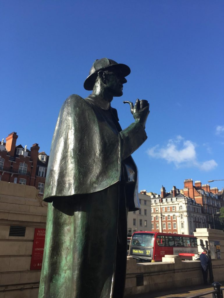 London: Sherlock Holmes Statue by John Doubleday at 4 Marylebone Road. Photo Credit: ©Glyn Jones.