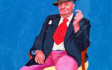 """Barry Humphries, 26-28 March"" 2015, Acrylic on canvas, 48 x 36"" by David Hockney. Photo Credit: ©Richard Schmidt."