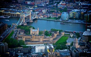 Aerial shot of Tower bridge and Tower of London. Photo Credit: ©London & Partners.