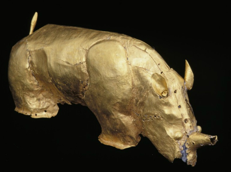 Gold rhino. From Mapungubwe, capital of the first kingdom in southern Africa, c. AD 1220 - 1290. Photo Credit: Department of Arts ©University of Pretoria via British Museum.