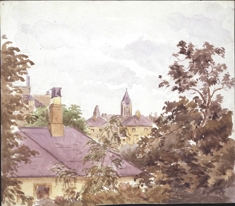 View from 2 Bolton Gardens, Beatrix Potter, 1882. Photo Credit: © Victoria & Albert Museum with kind permission of Frederick Warne & Co.