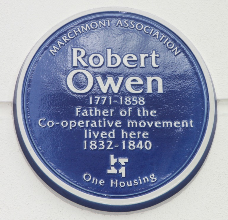 Robert Owen Blue Plaque.  Photo Credit: © Dafydd Wyn Phillips.