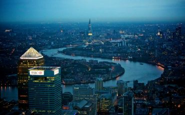 Canary Wharf aerial shot at night. Photo Credit: © London & Partners.
