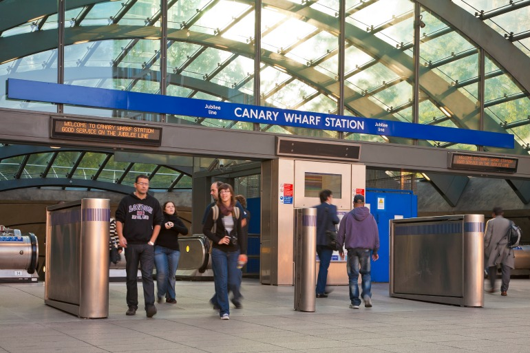 Canary Wharf station entrance. Photo Credit: © London & Partners.