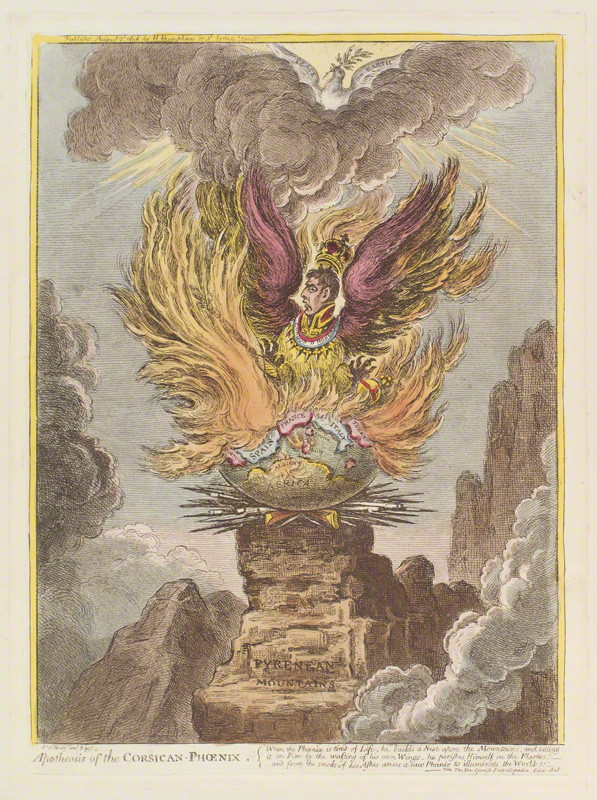 National Portrait Gallery: Napoléon Bonaparte ('Apotheosis of the Corsican-phoenix') by James Gillray, published by Hannah Humphrey hand-coloured etching and aquatint, published 2 August 1808. Photo Credit: © National Portrait Gallery, London.