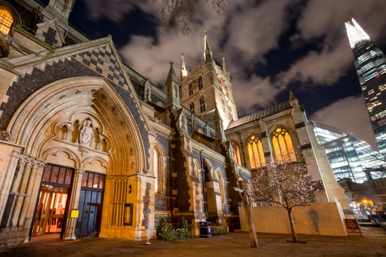 Southwark Cathedral at night. Photo Credit: © London & Partners.