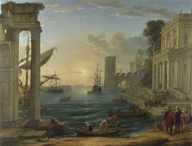 The National Gallery: Claude Gellee - Seaport with the Embarkation of the Queen of Sheba. Photo Credit: © The National Gallery, London.