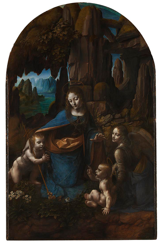 National Gallery: Leonardo da Vinci, The Virgin with the Infant Saint John the Baptist adoring the Christ Child accompanied by an Angel ('The Virgin of the Rocks'). Photo Credit: © National Gallery, London.