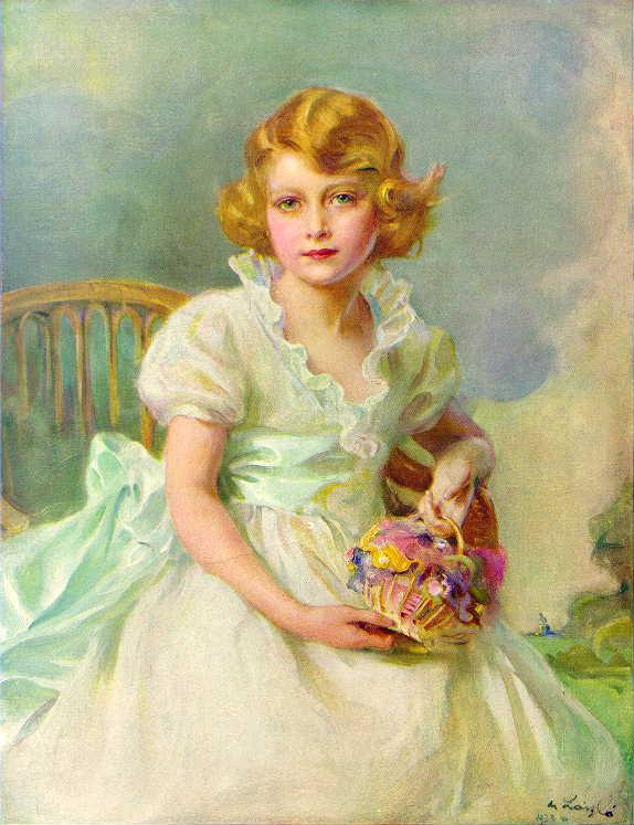 British Monarchy: Princess Elizabeth aged seven, painted by Philip de László, 1933. Photo Credit: © Public Domain via Wikimedia Commons.