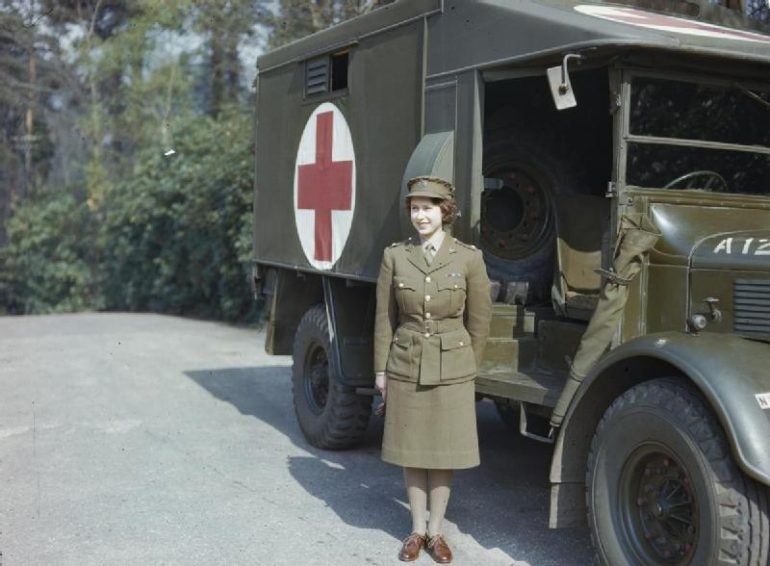British Monarchy: Princess Elizabeth in Auxiliary Territorial Service uniform, April 1945. Photo Credit: © Public Domain via Wikimedia Commons.