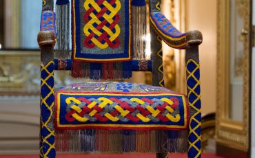 Buckingham Palace: 2017 Summer Opening of the State Rooms Royal Gifts Exhibition: A beaded Yoruba throne presented to The Queen by the people of Nigeria in 1956. Photo Credit: Royal Collection Trust / © Her Majesty Queen Elizabeth II 2017.