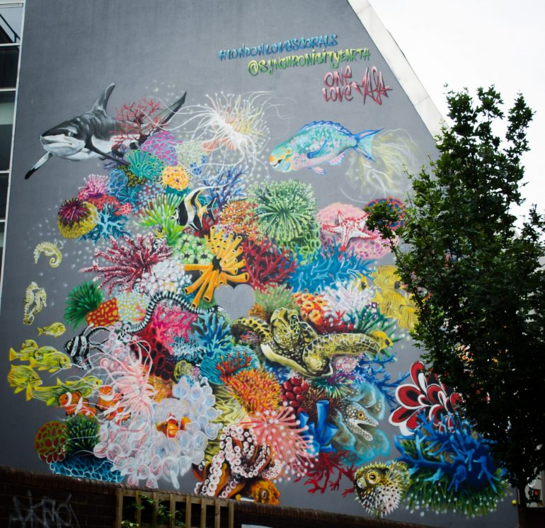 London Street Art: Louis Masai - Coral Biodiversity. Photo Credit: © Alex Lacey.