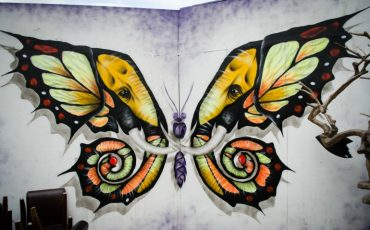 London Street Art: Otto Schade Artist - Elephutterfly. Photo Credit: © Alex Lacey.