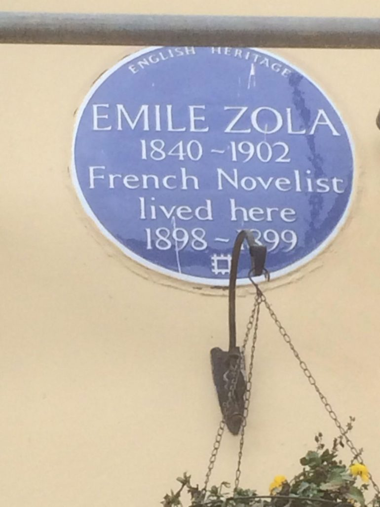 Queen's Hotel in Norwood area of London: Blue Plaque for Emile Zola.