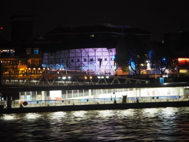William Shakespeare Globe Theatre lit up at night. Photo Credit: © Ursula Petula Barzey.