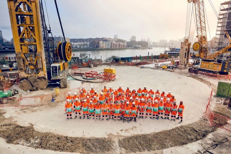 Tideway workers have begun work on digging a hole with a 30m diameter on the banks of the River Thames. Photo Credit: © Thames Tideway Tunnel.