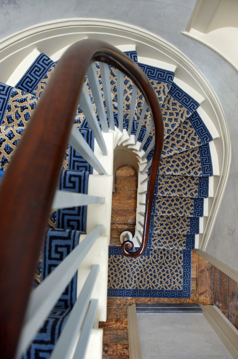 Sandycombe Lodge: Turner's House staircase with carpet. Photo Credit: Anne Purkiss ©Turner's House Trust Collection.