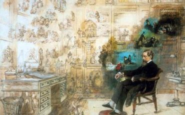 Dickens's Dream by Robert William Buss, portraying Dickens at his desk at Gads Hill Place surrounded by many of his characters. Photo Credit: © Wikipedia Commons.