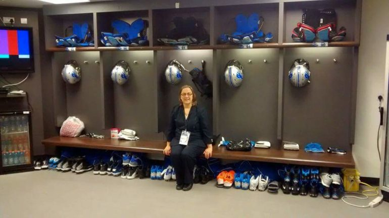 NFL International Series: Sarah Reynolds in LA Rams Locker Room. Photo Credit: © Sarah Reynolds.