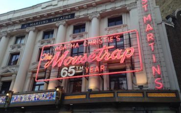 Agatha Christie's The MouseTrap 65th anniversary sign. Photo Credit: © Mousetrap London.